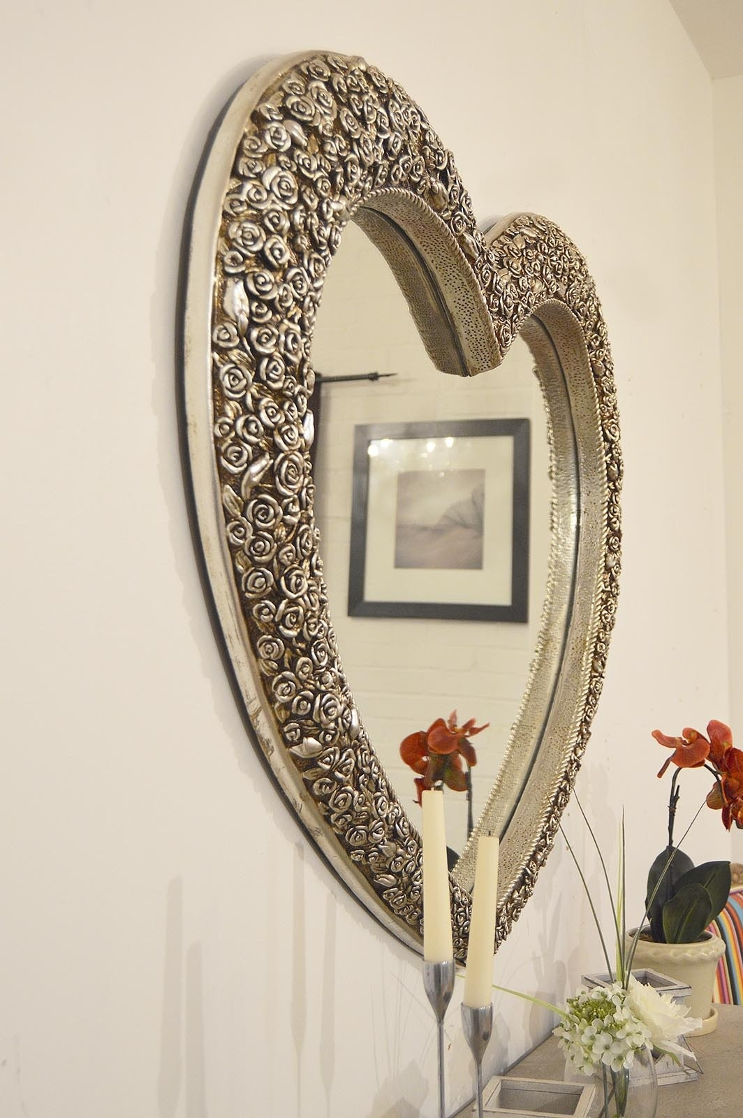 V Large Antique Silver Heart Shaped Wall Mirror 3ft1x3ft7 In Large Heart Mirror (Image 14 of 15)
