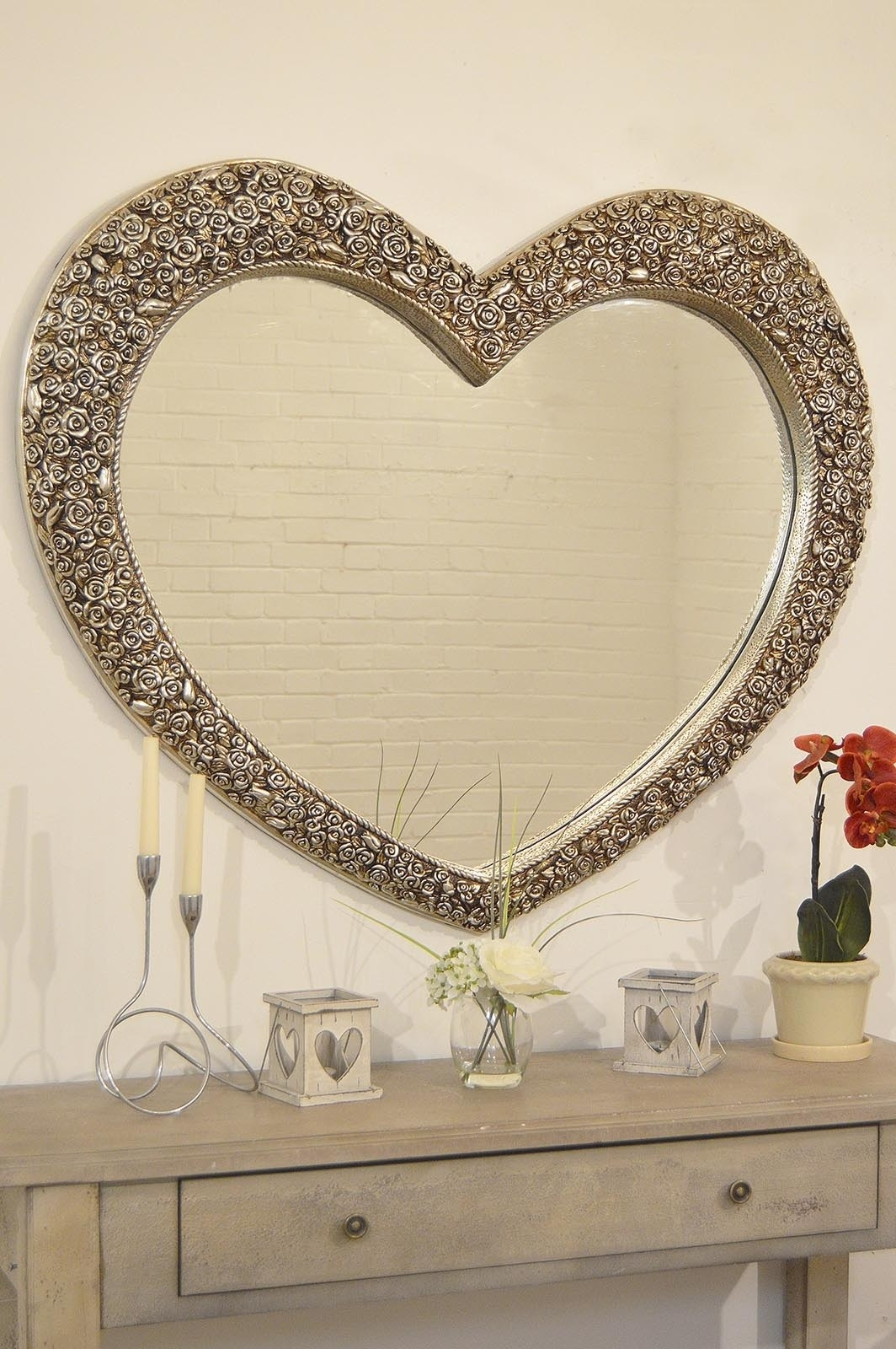 V Large Antique Silver Heart Shaped Wall Mirror 3ft1x3ft7 With Regard To Large Antique Silver Mirror (Photo 4 of 15)