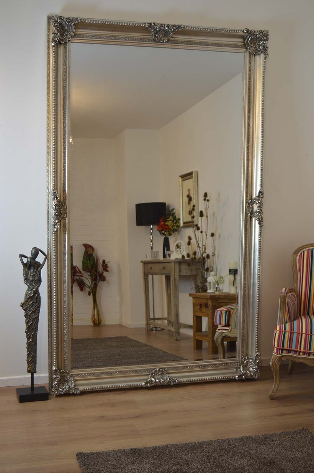 V Large Antique Style Silver Rectangle Wood Wall Mirror Leaner 8ft Throughout Large Antique Wall Mirrors (Image 15 of 15)
