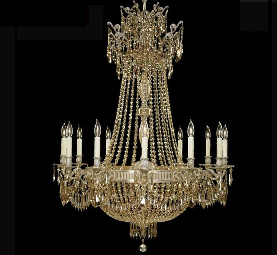 Valencia Collection Extra Large Brass Crystal Chandelier Grand For Brass And Crystal Chandelier (Image 15 of 15)