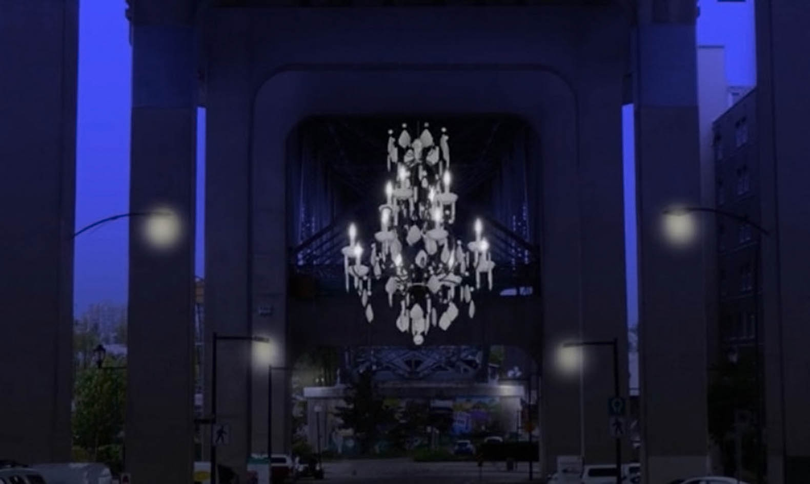 Vancouver Lights Up A Dark Highway Overpass With A Massive Regarding Massive Chandelier (Image 14 of 15)