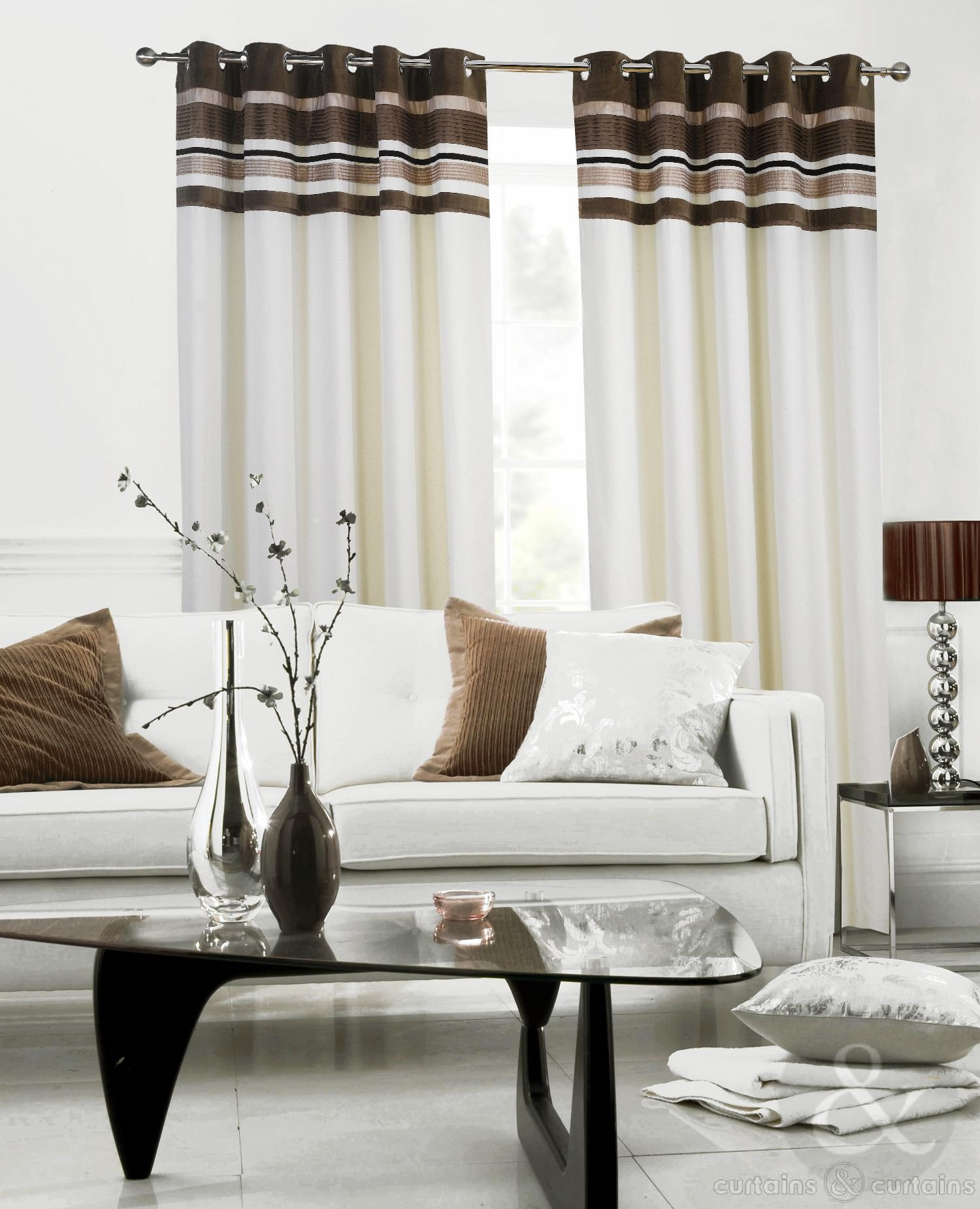 Velvet And Linen Chocolate Brown Eyelet Luxury Lined Curtains Within Linen Luxury Curtains (Image 15 of 15)