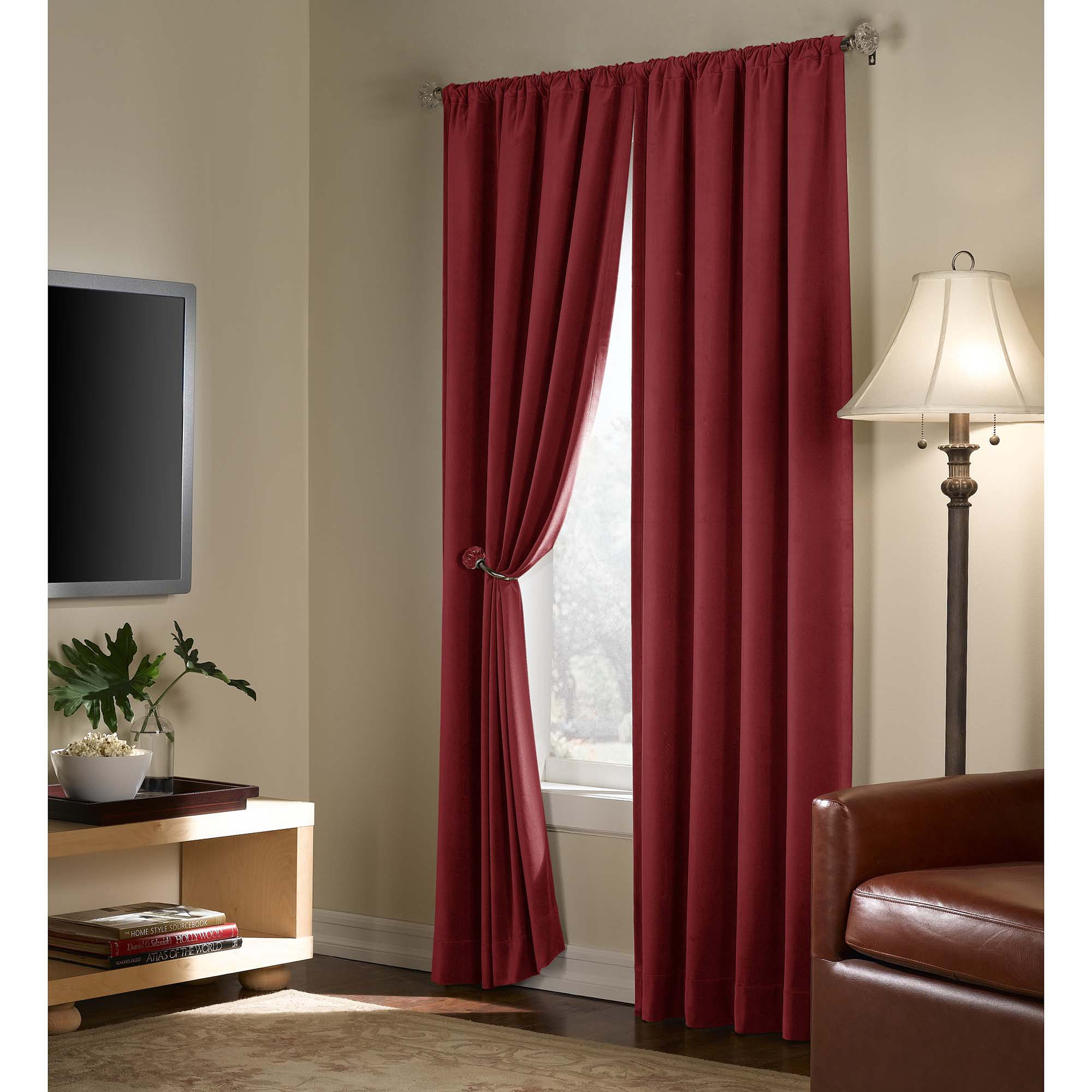 Velvet Blackout Energy Efficient Curtain Panel Walmart Regarding Dark Brown Velvet Curtains (View 4 of 15)