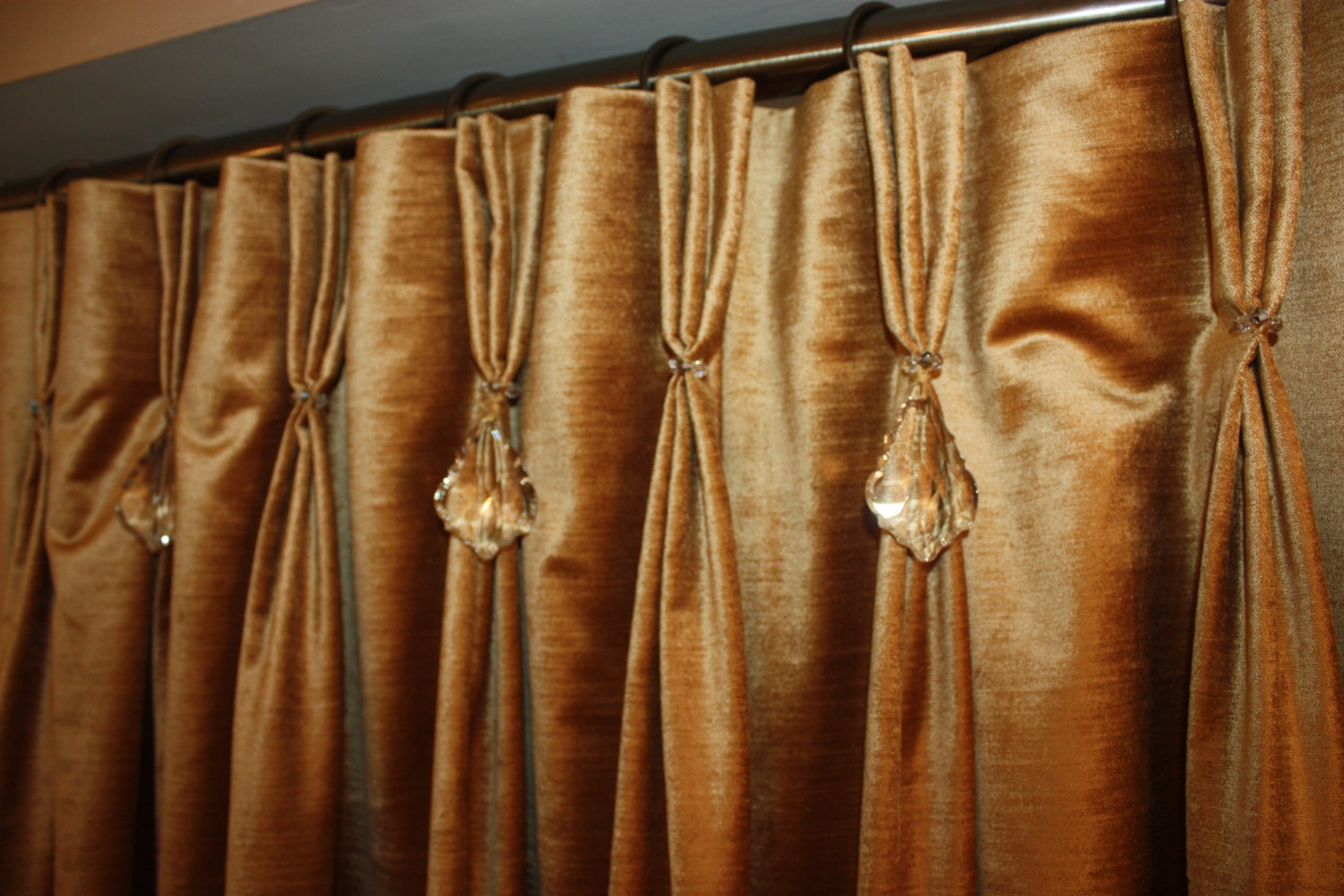Velvet Curtains Etsy Within Orange Velvet Curtains (View 3 of 15)