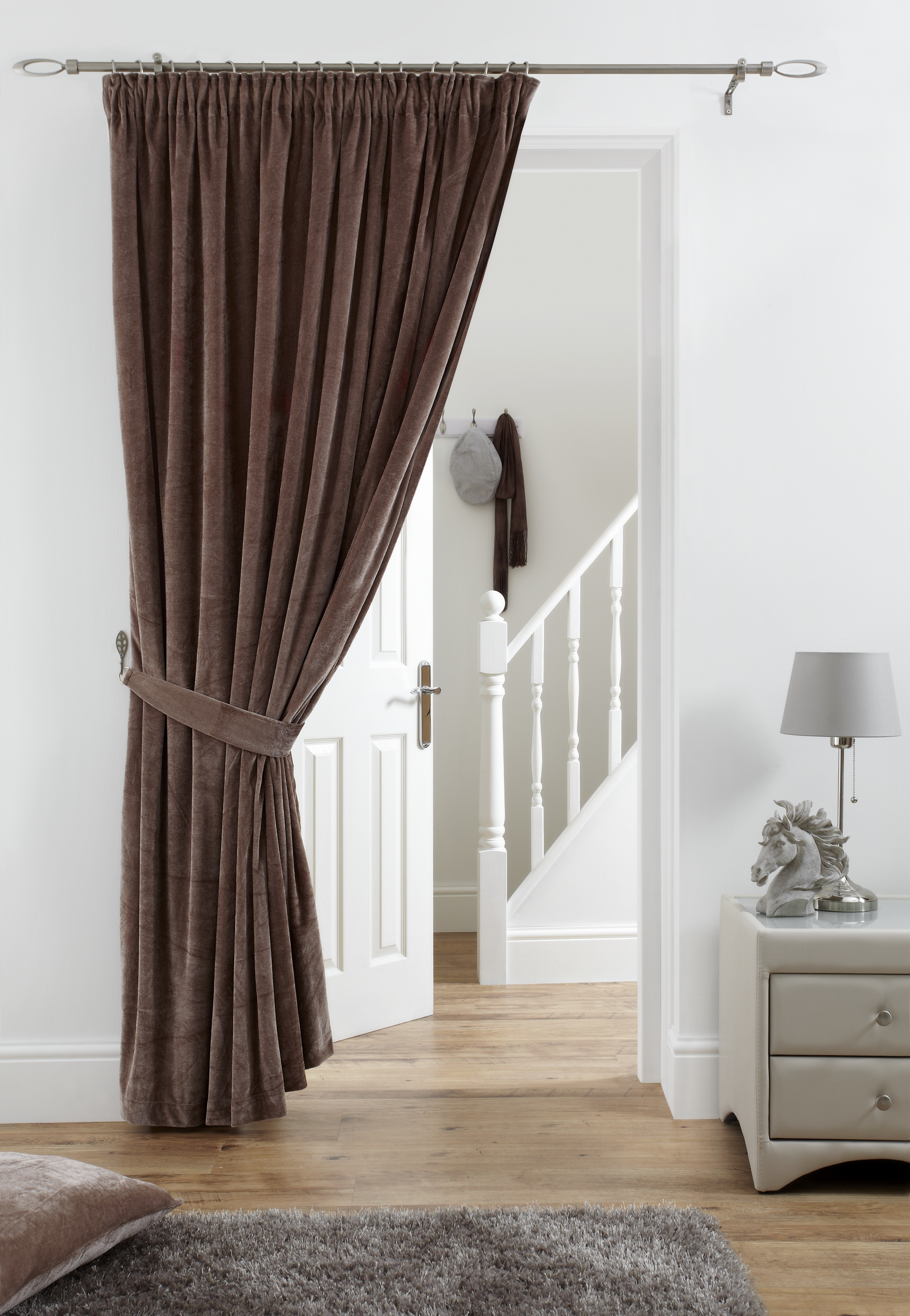 Velvet Door Curtain Panel Pencil Pleat 66×84 Available In Pertaining To Velvet Door Curtain (View 3 of 15)