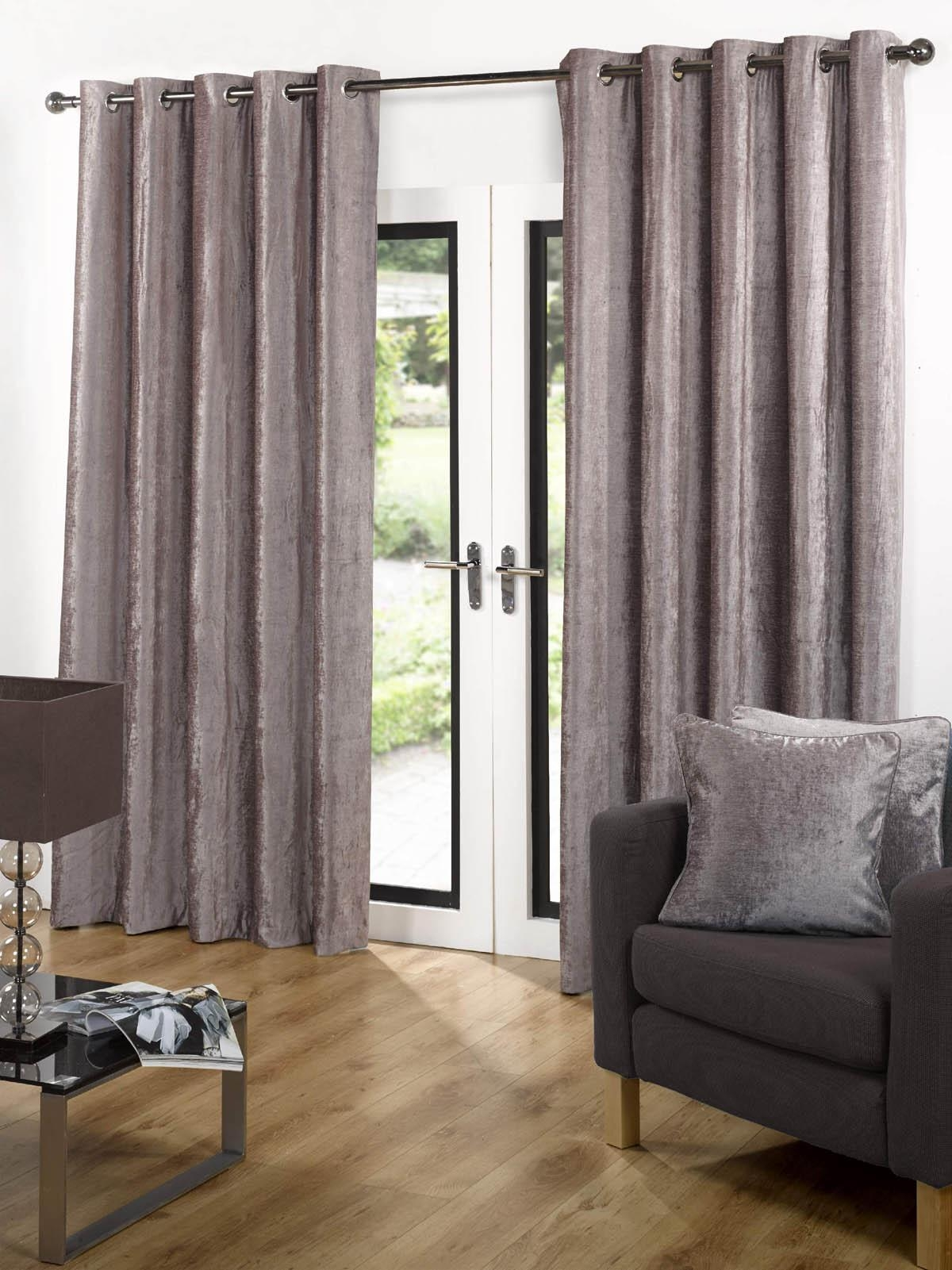 Velvet Ready Made Eyelet Curtains Grey Free Uk Delivery Terrys For Velveteen Curtains (Image 15 of 15)