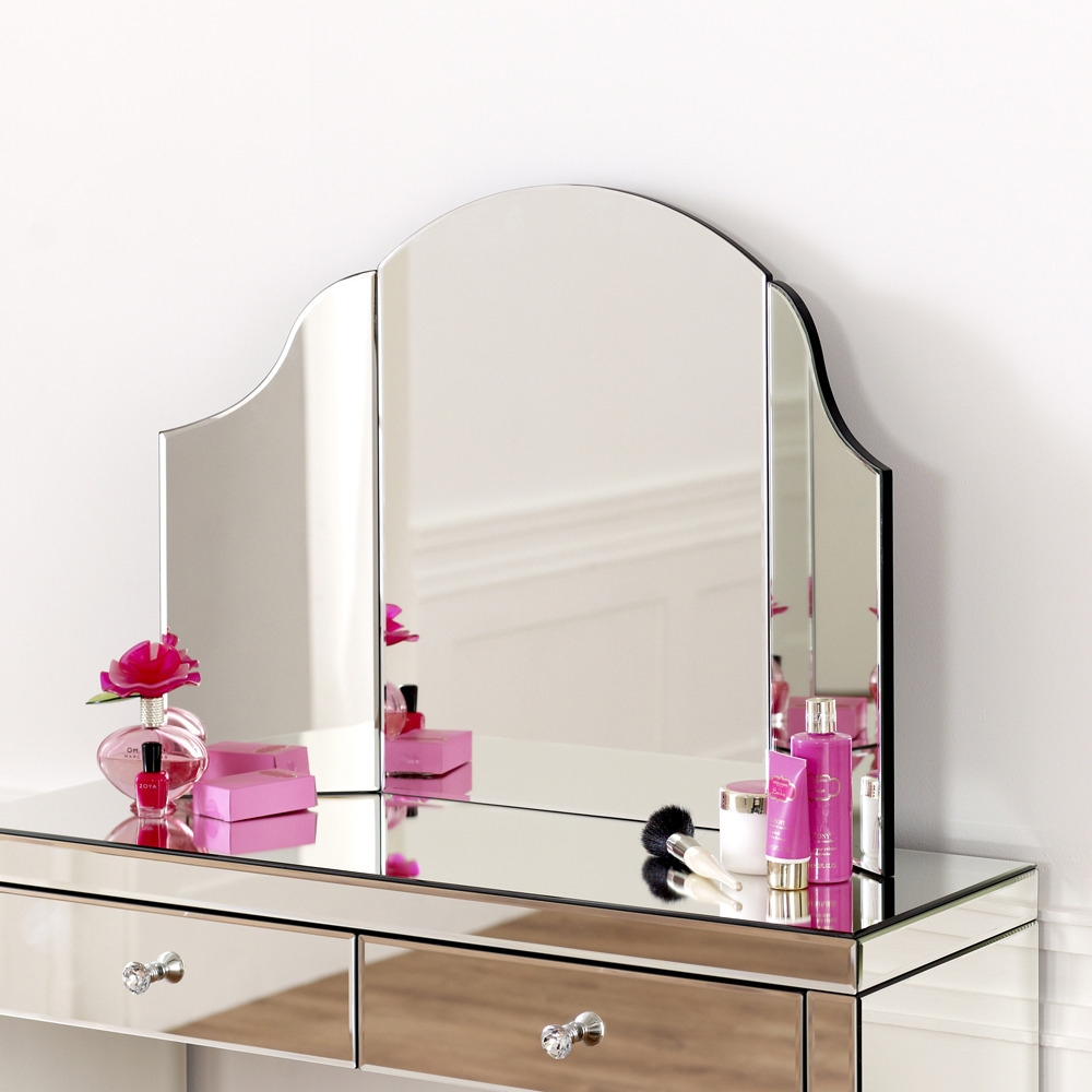 Venetian Art Deco Curved Dressing Table Mirror Glass Bedroom Within Venetian Table Mirror (Image 11 of 15)