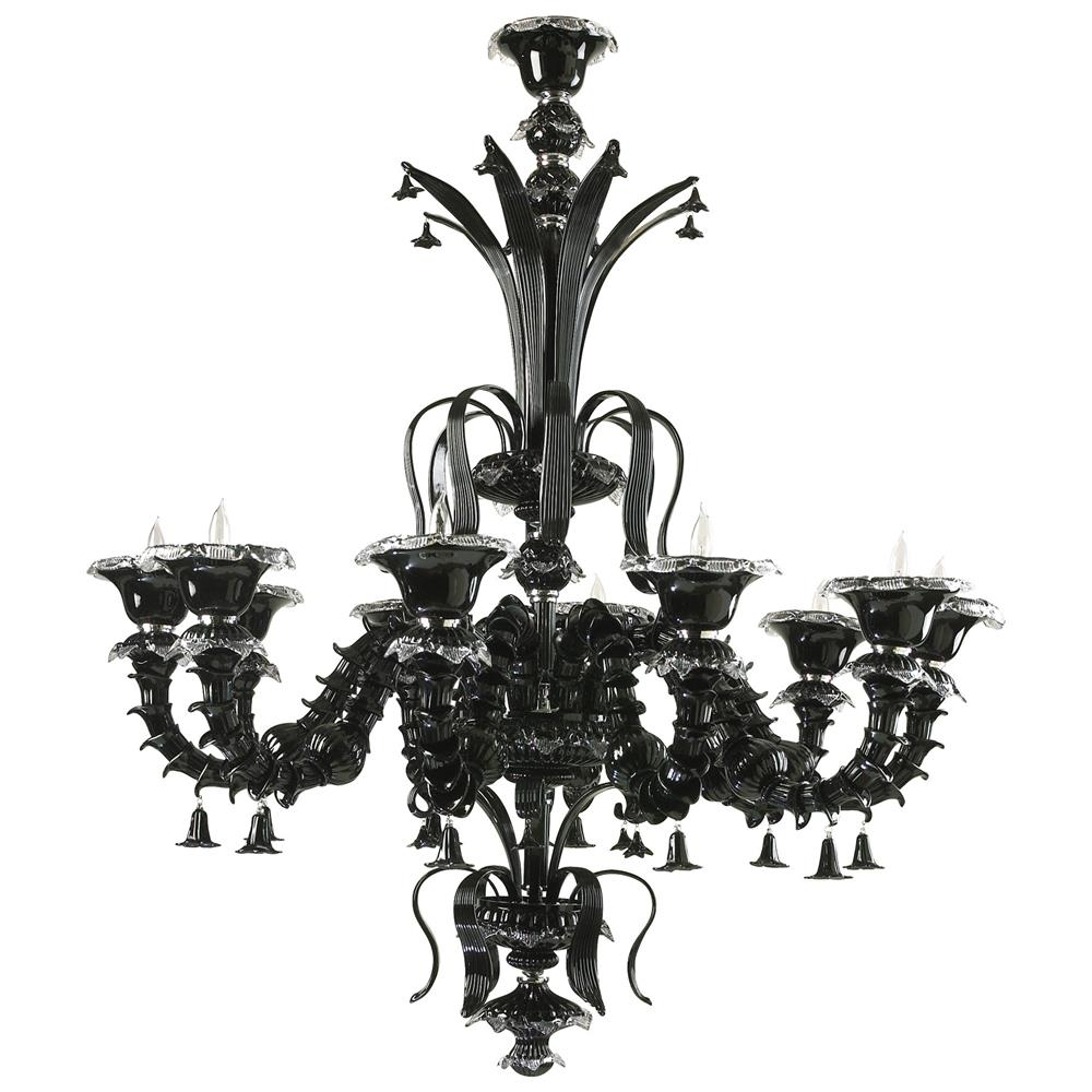 Venetian Gothic Noir Black 10 Light Murano Glass Style Chandelier Regarding Black Gothic Chandelier (Image 13 of 15)