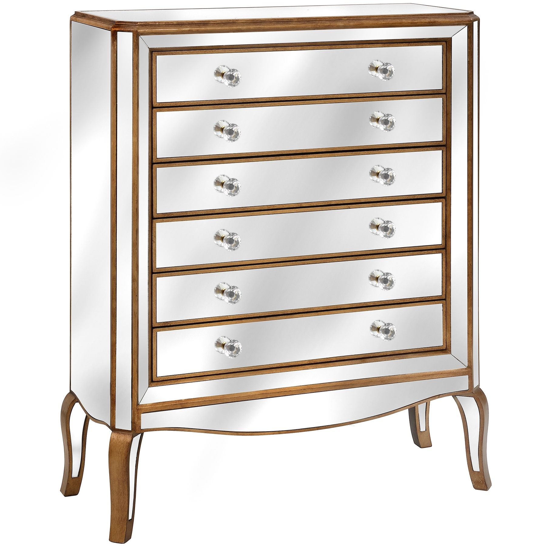 Venetian Mirrored 6 Drawer Tall Boy From Baytree Interiors Regarding Venetian Mirrored Chest Of Drawers (Image 12 of 15)
