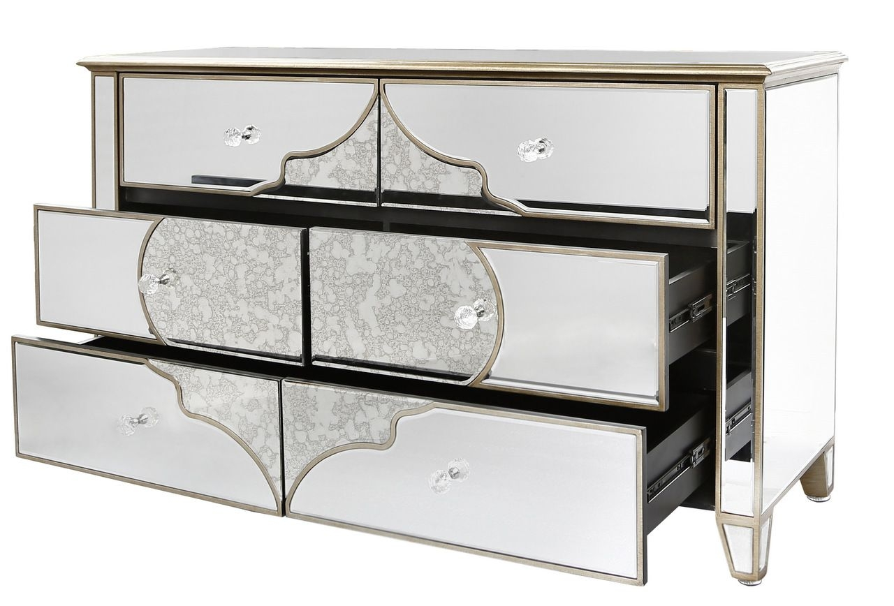 Venetian Mirrored Chest Of 6 Drawers With Gold Pattern Regarding Venetian Mirrored Chest Of Drawers (Image 15 of 15)