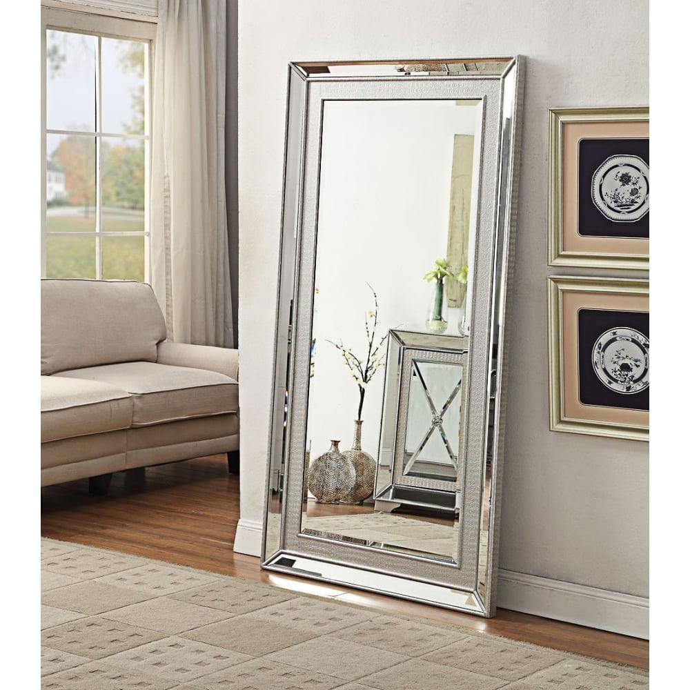 Venetian Mock Croc And Mirrored Glass Tall Full Length Mirror In Venetian Full Length Mirror (Image 13 of 15)