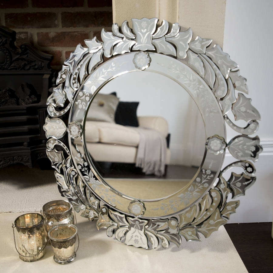 Venetian Round Etched Mirror The Orchard Notonthehighstreet Throughout Round Venetian Mirror (Image 14 of 15)