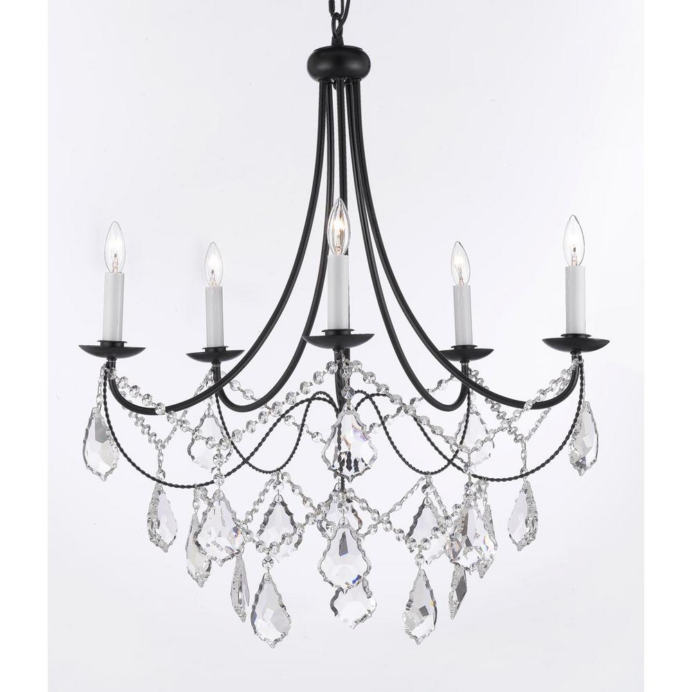 Versailles 5 Light Black Iron Chandelier With Crystal T40 588 Regarding Black Iron Chandeliers (Image 15 of 15)