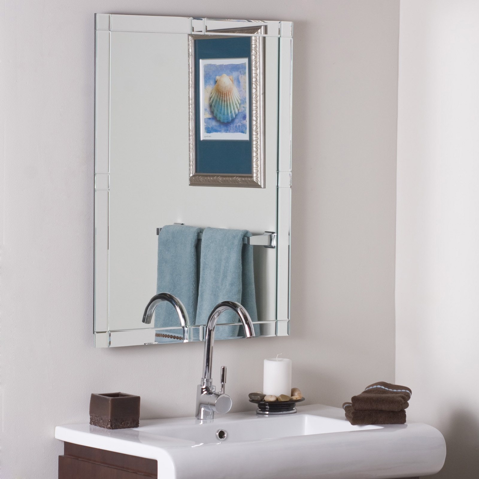 Versatility Frameless Bathroom Mirror Accessory Inspiration Home Inside Large Bevelled Edge Mirror (Image 14 of 15)