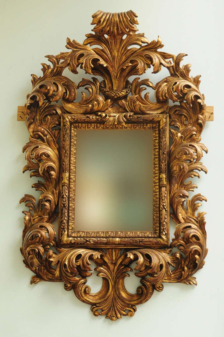 Very Fine Late 19th Century Italian Rococo Style Carved Wood Within Rococo Style Mirrors (Image 15 of 15)
