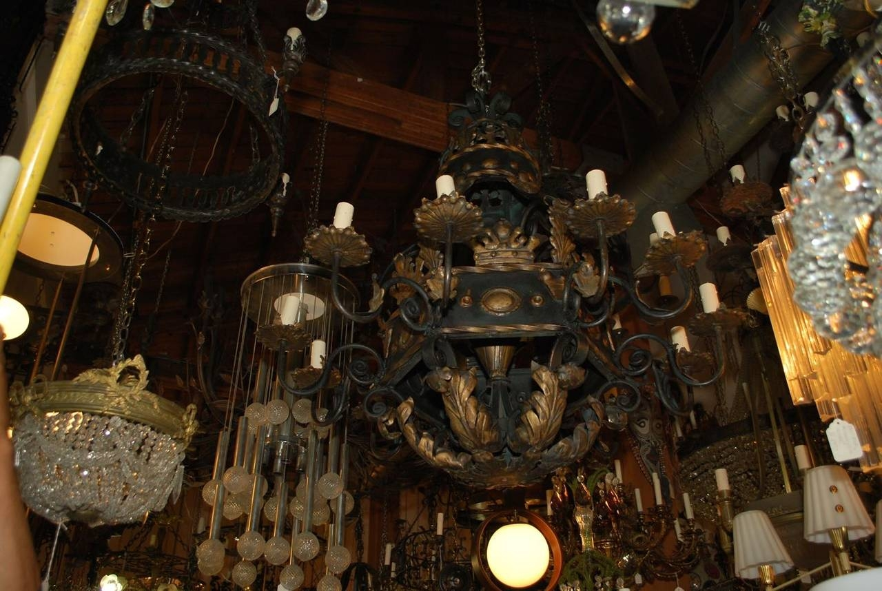 Very Large And Rare French 1930 Wrought Iron Chandelier For Sale Intended For Large Iron Chandelier (View 2 of 15)