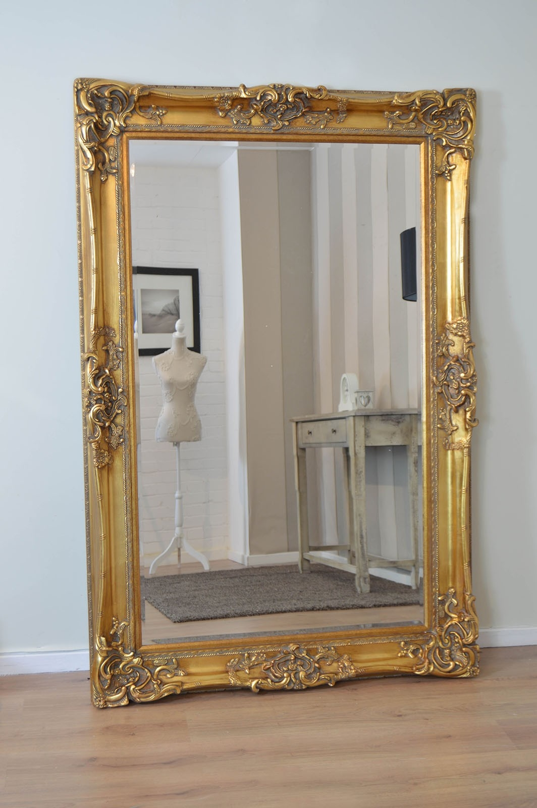 Very Large Gold Antique Style Rectangle Wood Wall Mirror 6ft X 4ft With Antique Style Mirrors Wall (Image 14 of 15)