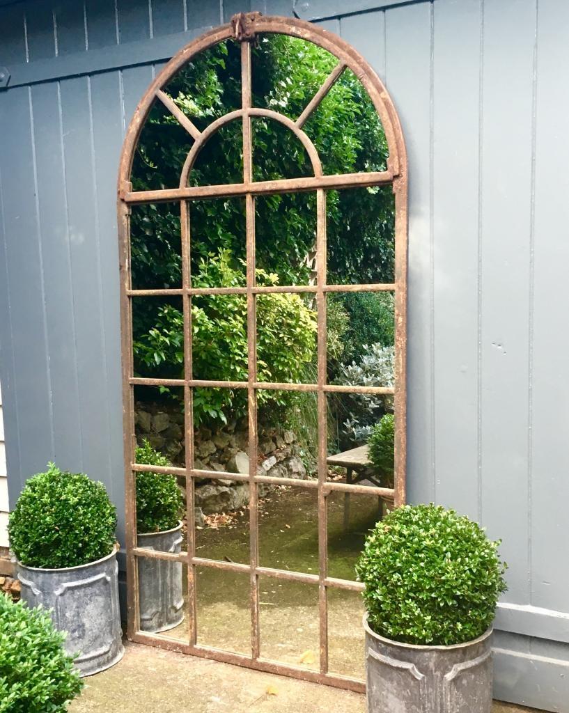 Very Tall Arch Garden Vintage Window Mirror Very Tall Vintage Inside Garden Window Mirror (Image 15 of 15)