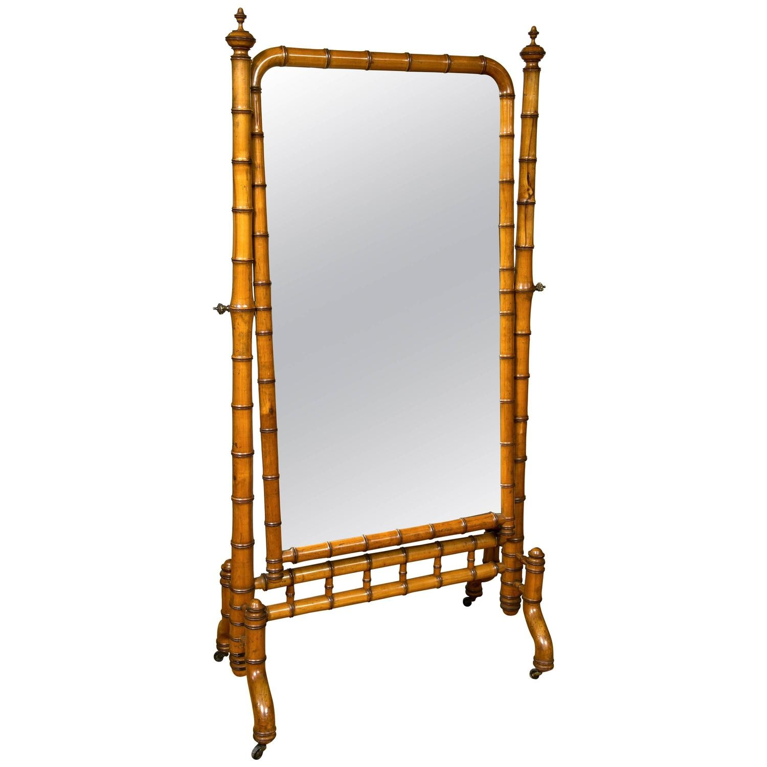 Victorian Era Aesthetic Movement Faux Bamboo Cheval Mirror Inside Victorian Floor Mirror (Image 14 of 15)