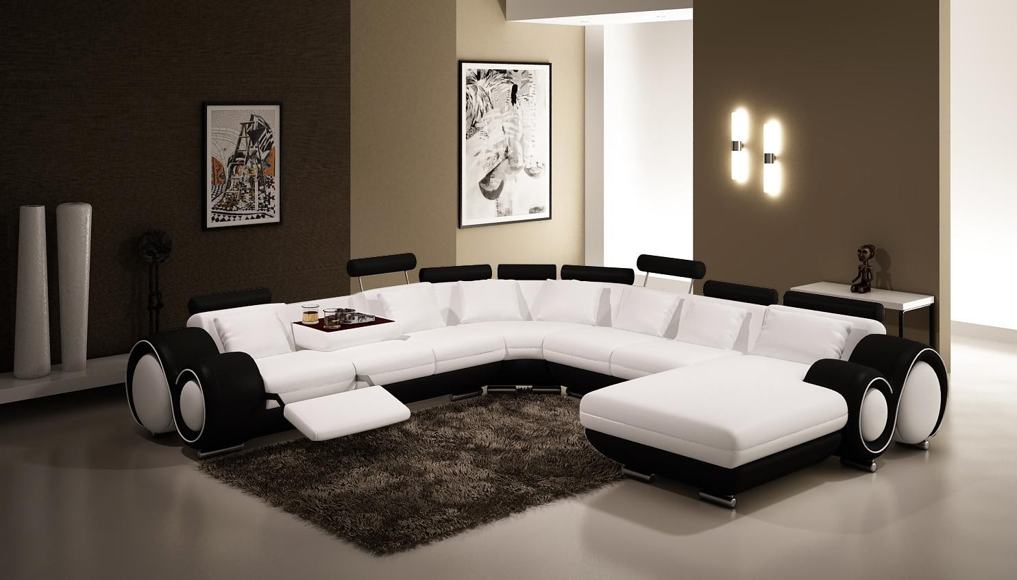 Vig Furniture 4084 Contemporary Black And White Leather Sectional Sofa With Regard To Black And White Sectional Sofa (Image 13 of 15)