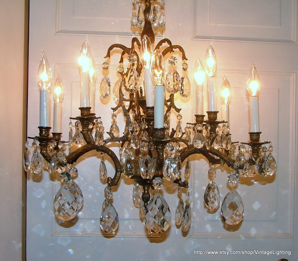 Vintage 108 Glass Crystal Prisms Brass Chandelier Lighting Flickr With Vintage Brass Chandeliers (Image 10 of 15)