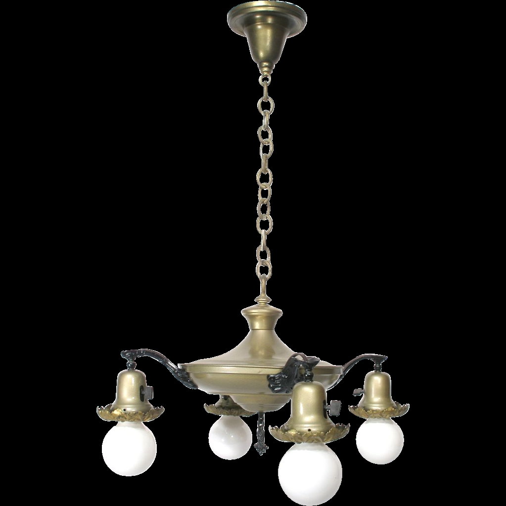 Vintage 4 Bell Dome Light Pan Flying Saucer Style Chandelier With Vintage Style Chandelier (Image 12 of 15)