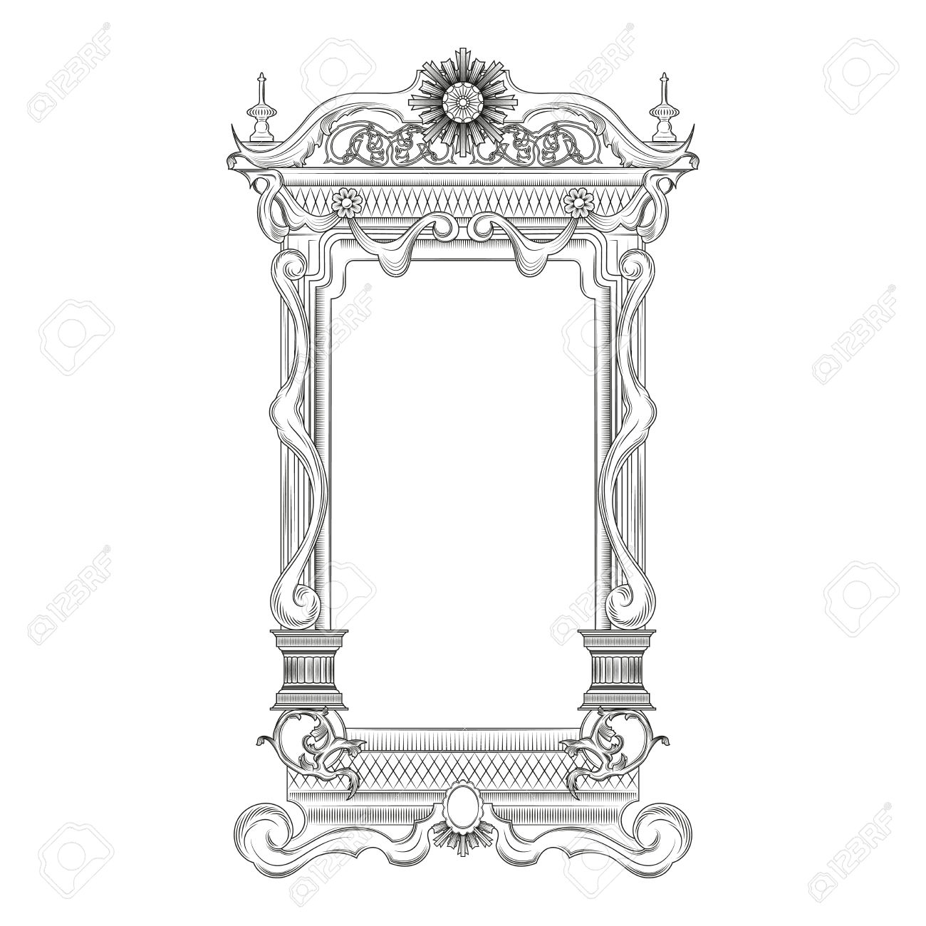 Vintage Baroque Style Mirror Frame Royalty Free Cliparts Vectors With Regard To Baroque Style Mirror (Image 14 of 15)