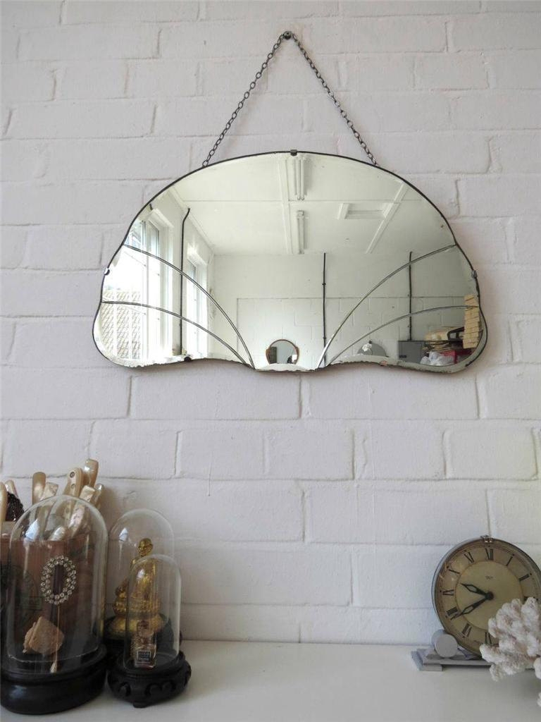 Vintage Bevelled Edge Wall Mirror Art Deco Beveled Edge Mirror With Vintage Bevelled Edge Mirror (Image 8 of 15)