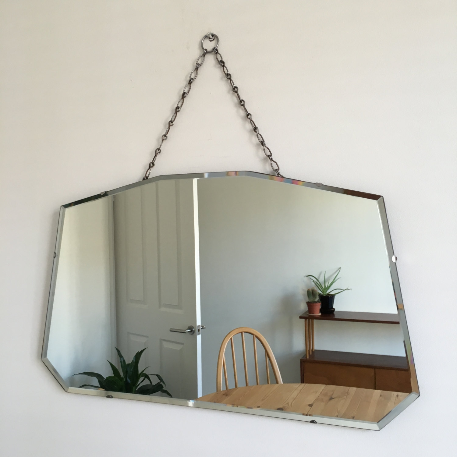 Vintage Bevelled Edge Wall Mirror On Chain Mid Century Art Deco In Vintage Bevelled Edge Mirror (Image 9 of 15)