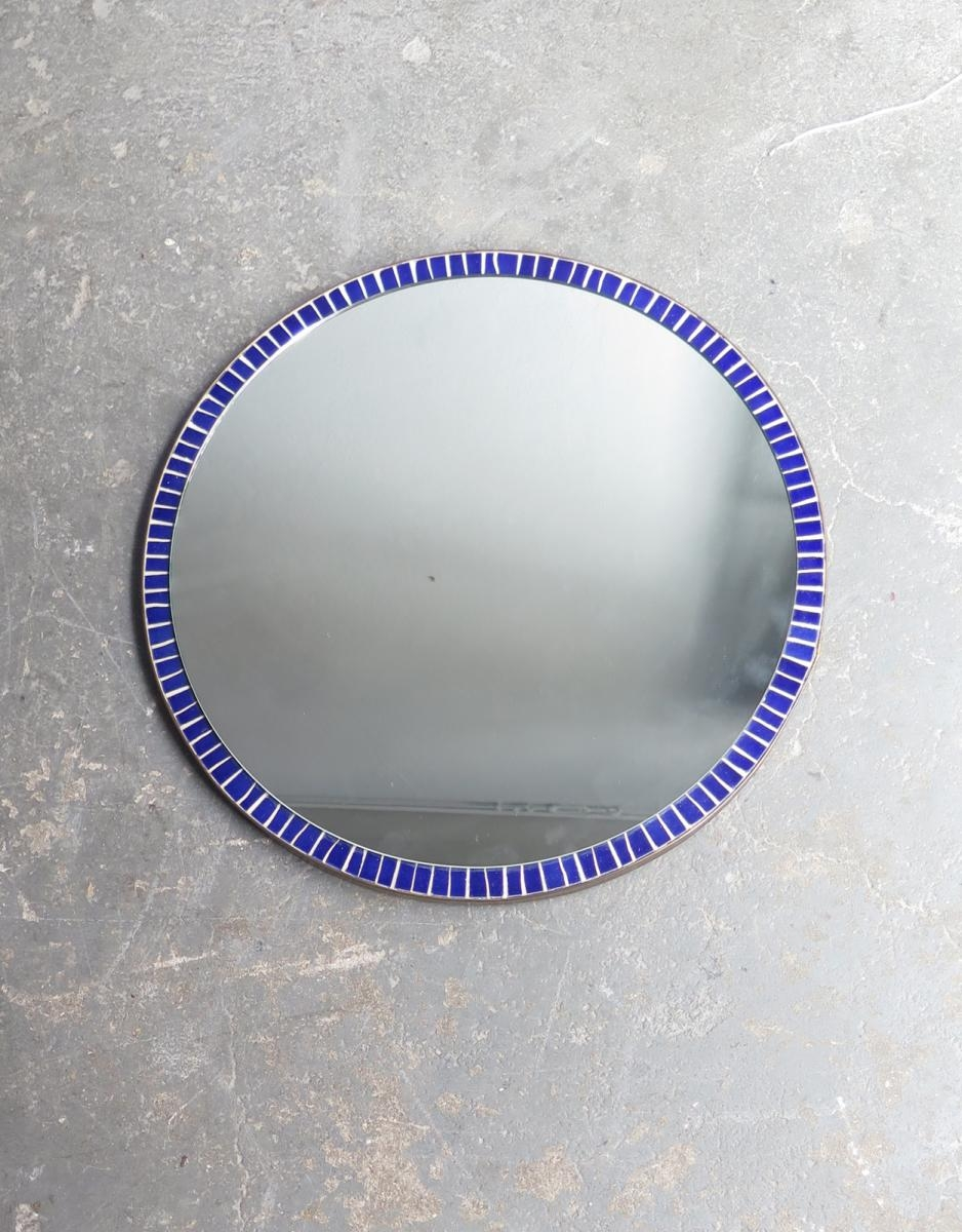Vintage Blue Mosaic Round Mirror For Sale At Pamono With Blue Round Mirror (Image 15 of 15)