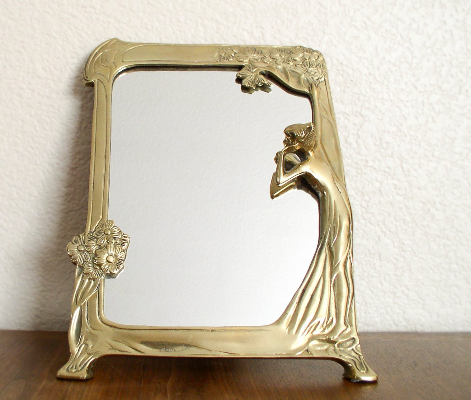 Vintage Brass Art Nouveau Mirror Woman Gazing With Tree And In Vintage Looking Mirrors (View 12 of 15)