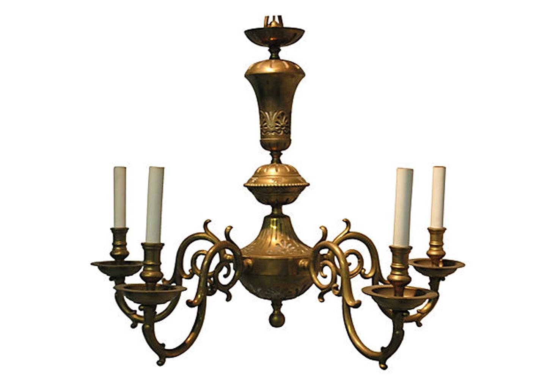Vintage Brass Chandelier Omero Home Inside Vintage Brass Chandeliers (View 3 of 15)