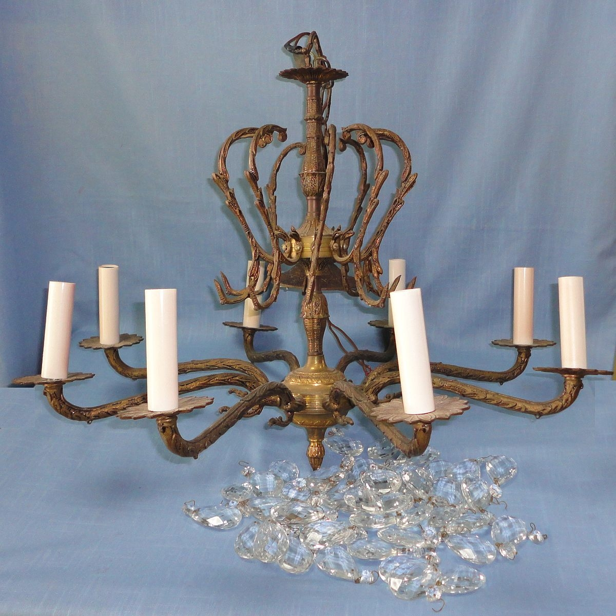 Vintage Brass Crystal Chandelier 83549 Sitweb Inside Vintage Brass Chandeliers (Image 12 of 15)