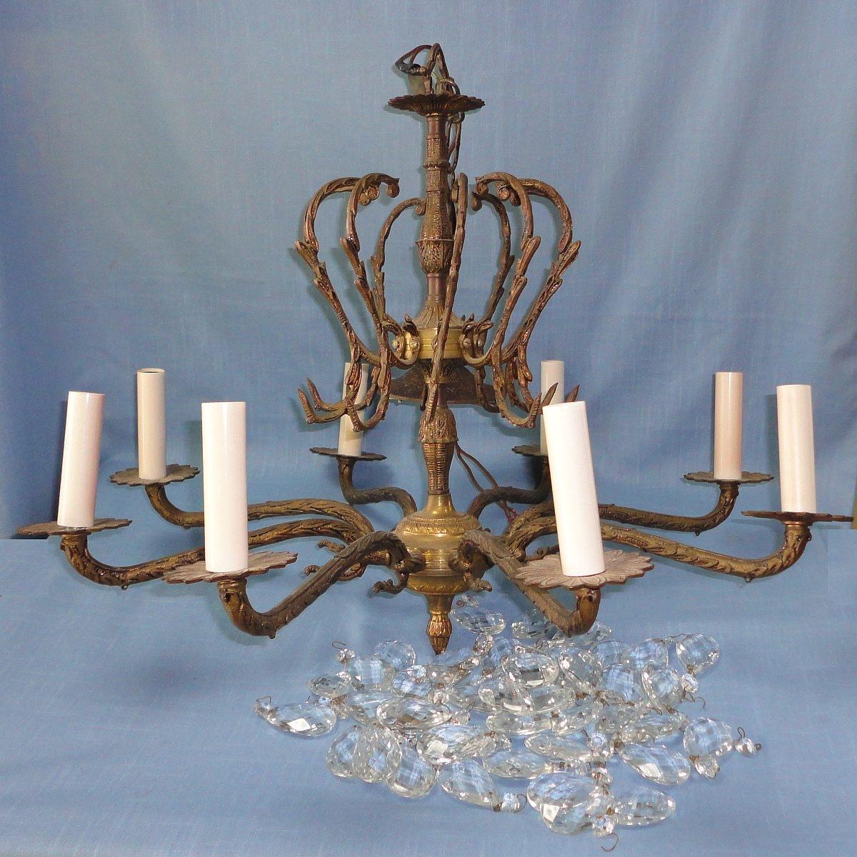 Vintage Brass Crystal Chandelier 83549 Sitweb Inside Vintage Brass Chandeliers (View 11 of 15)