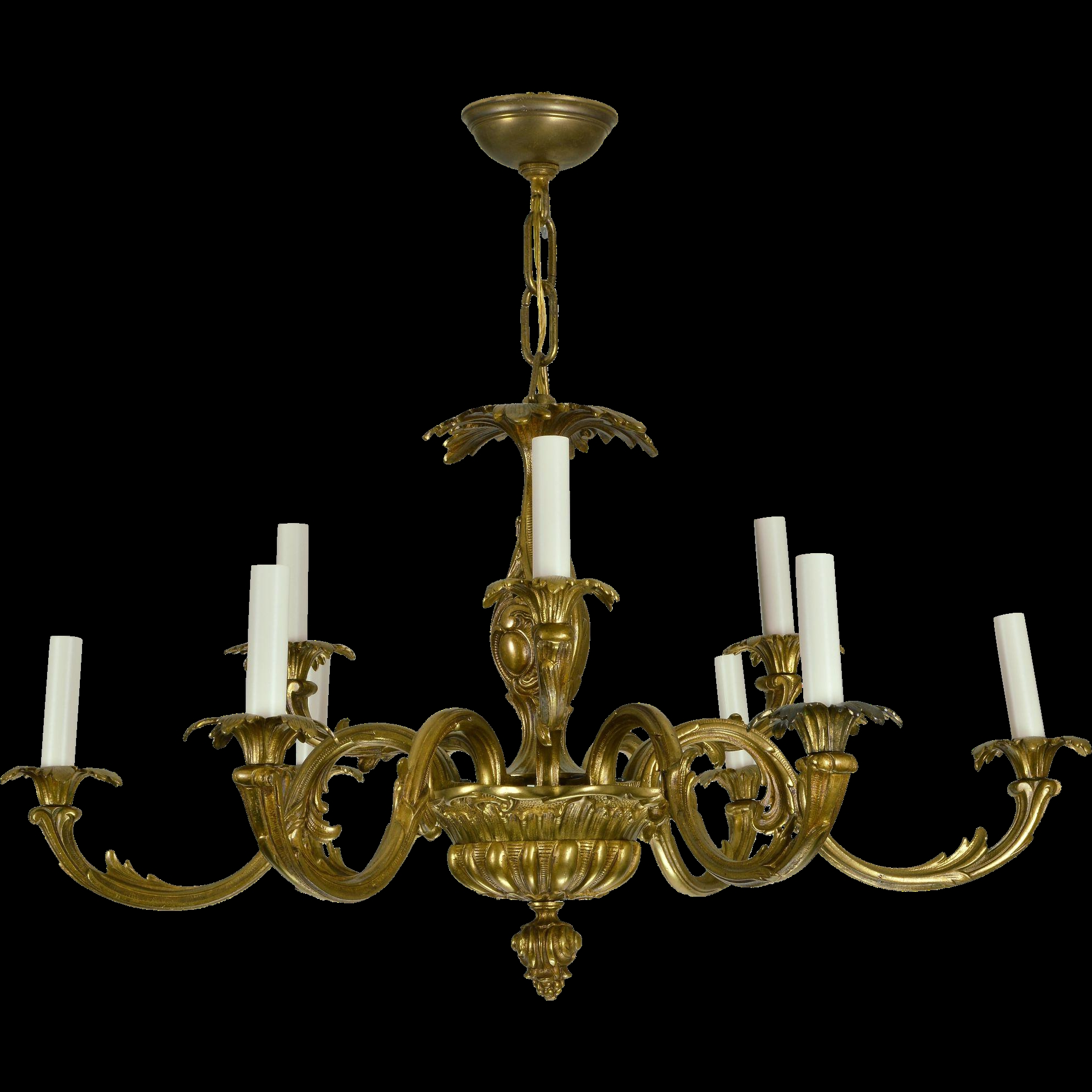 Vintage Brass French Baroque Chandelier From Tolw On Ru Lane Within Vintage Brass Chandeliers (Image 13 of 15)