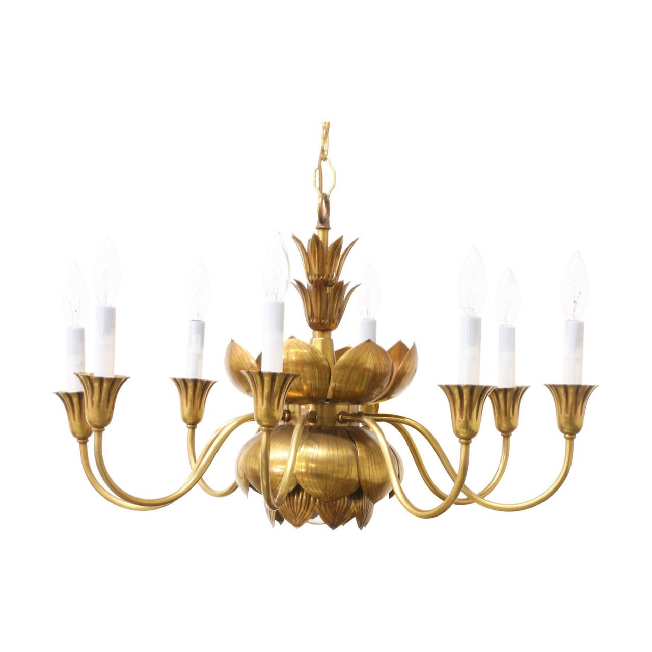 Vintage Brass Lotus Chandelier Feldman At 1stdibs Throughout Vintage Brass Chandeliers (Image 14 of 15)