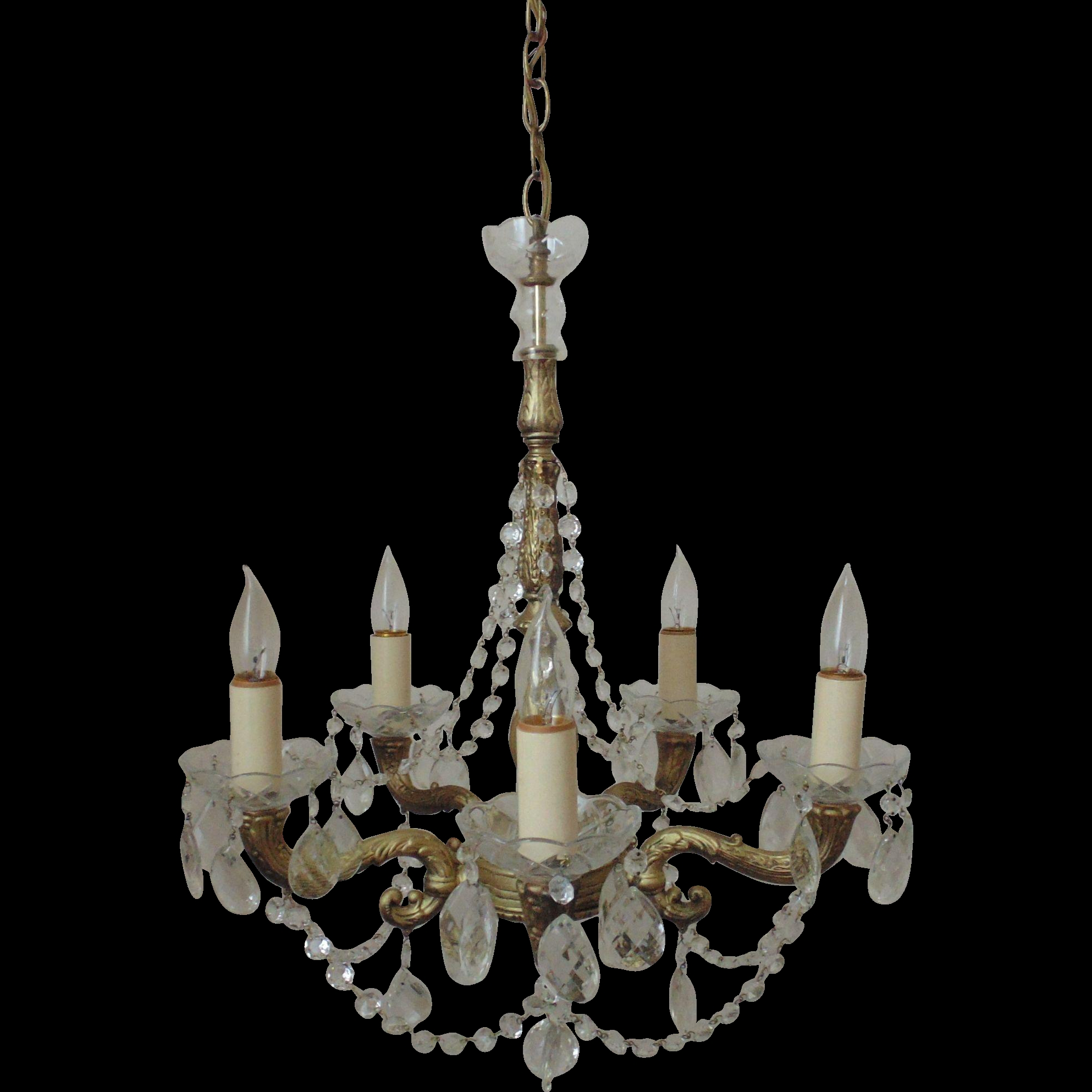 Vintage Chandelier Gilt Metal Crystal Beaded Swags Teardrop Pertaining To Vintage Chandelier (Image 10 of 15)