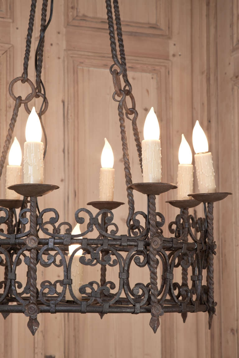 Vintage Country French Wrought Iron Chandelier Vintage Wrought With Vintage Wrought Iron Chandelier (Image 8 of 15)