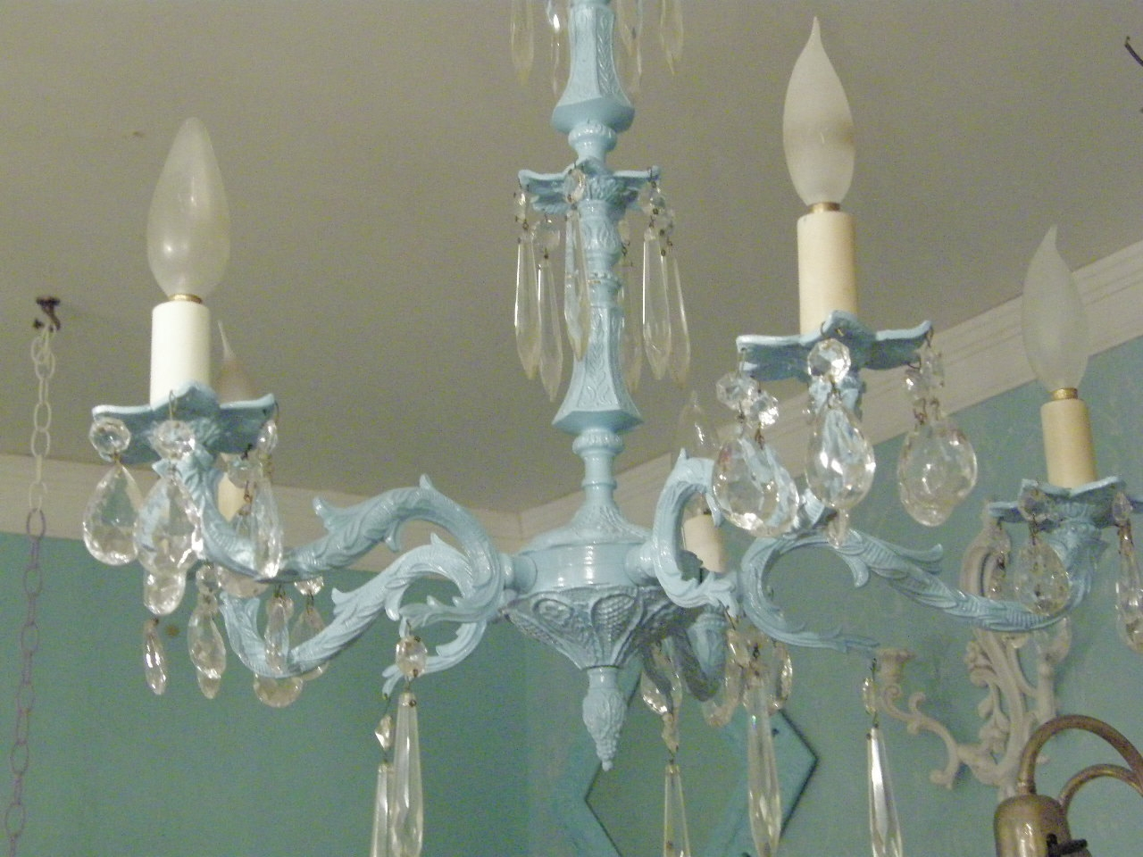 Vintage Crystal Chandelier Shab Chic Aqua Light Ba Blue Regarding Shabby Chic Chandeliers (View 4 of 15)
