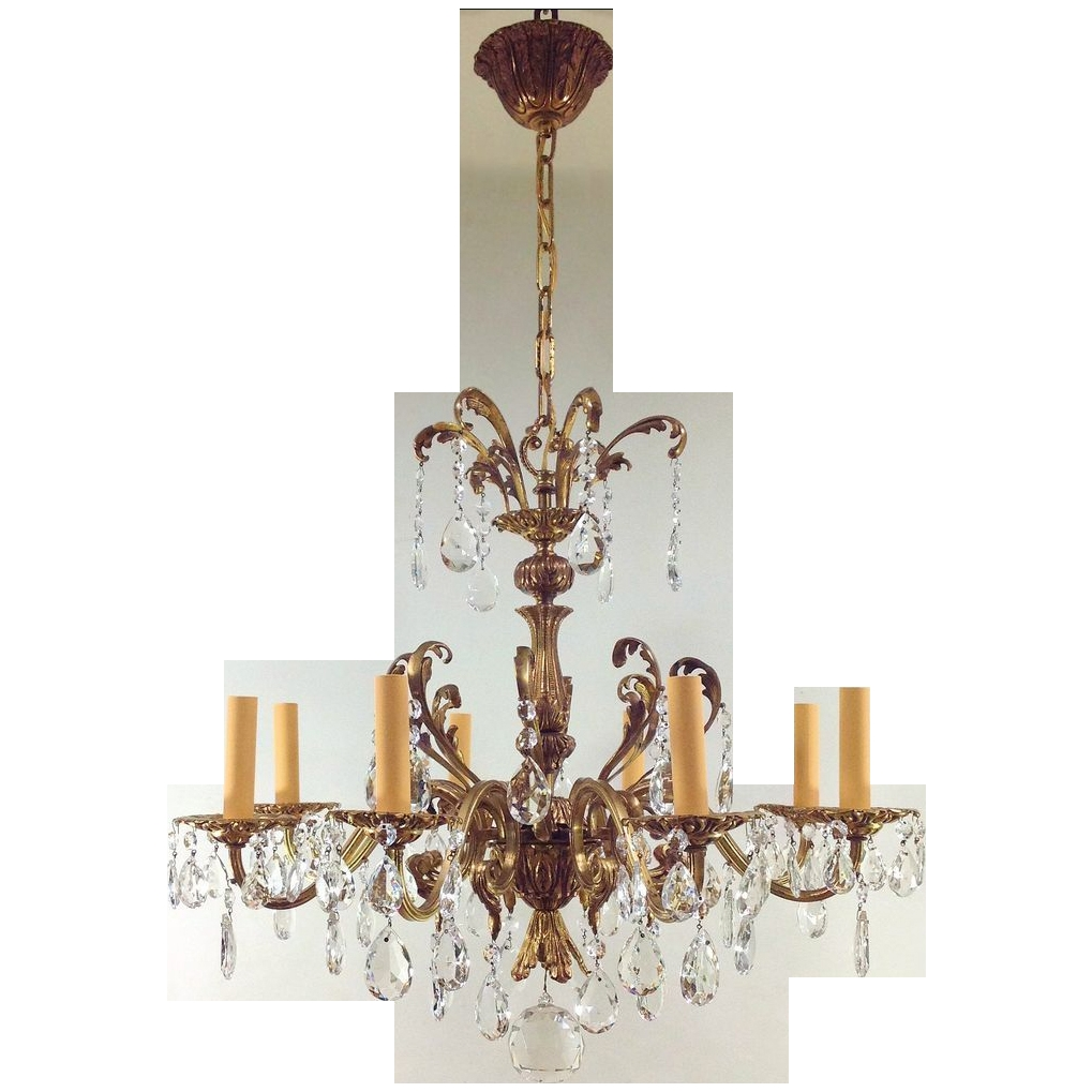 Vintage Czechoslovakia Gilt Crystal Chandelier 8 Lights Sold On Pertaining To Vintage Chandelier (Image 12 of 15)