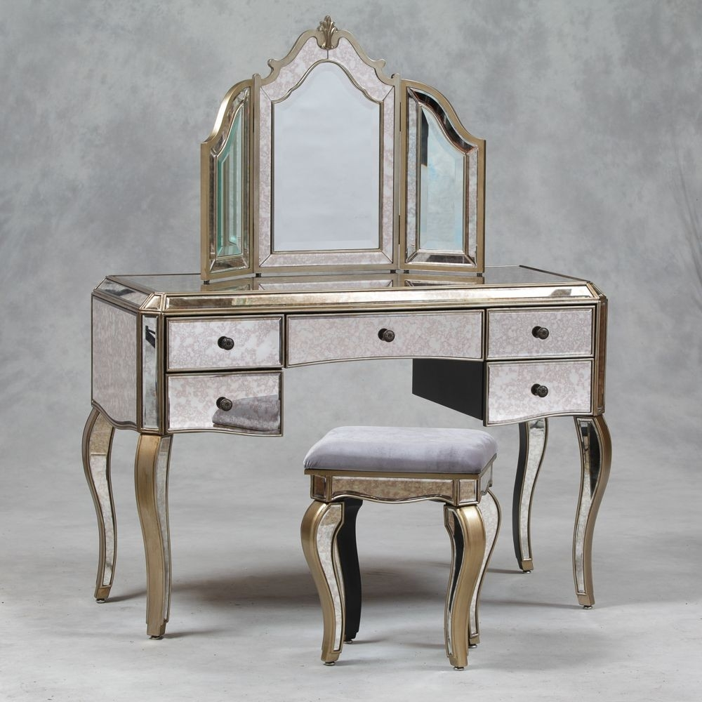 Vintage Dressing Table With Mirror Antique Dressing Table Mirror With Regard To Venetian Mirror Table (Image 14 of 15)
