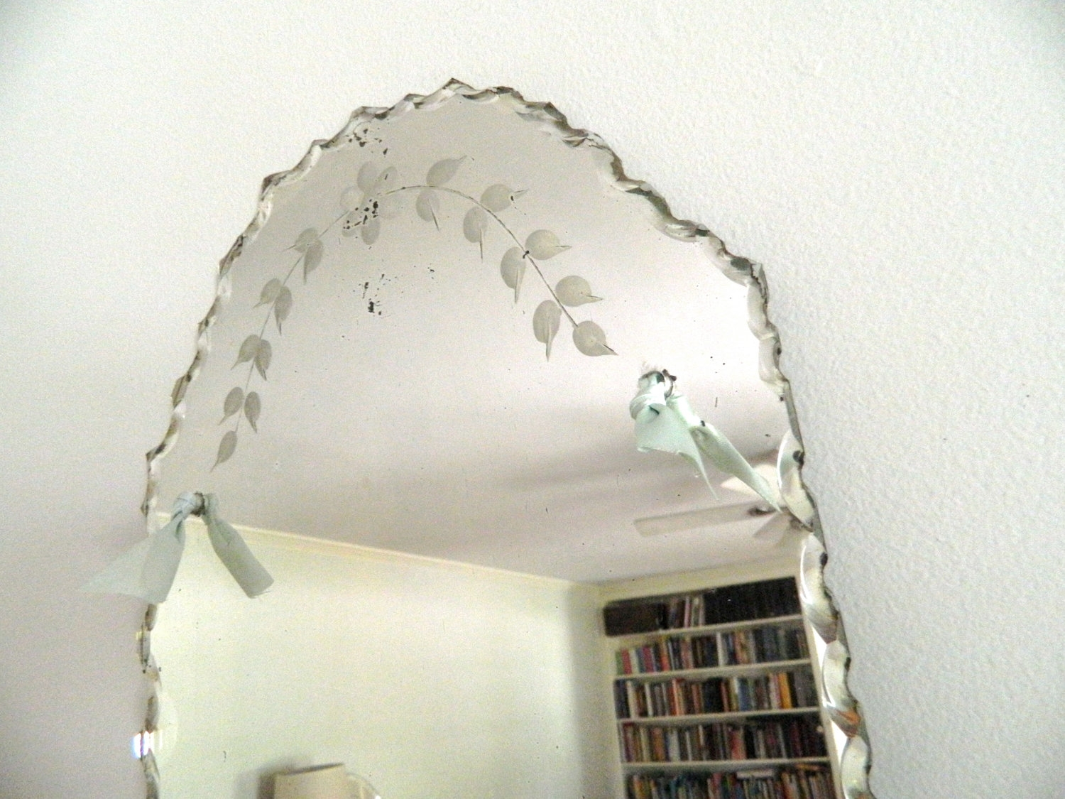 Vintage Etched Beveled Mirror Frameless Within Antique Frameless Mirror (View 11 of 15)