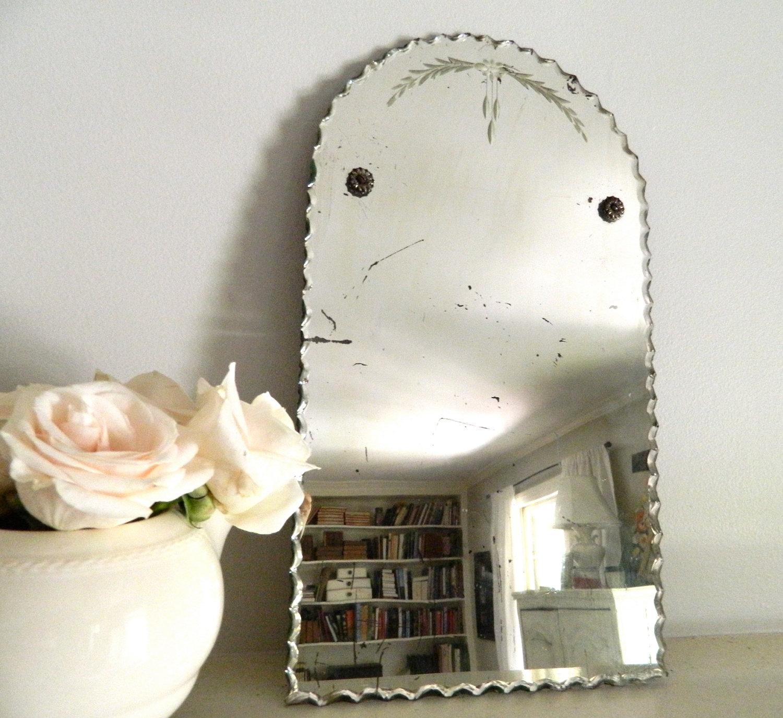 Vintage Frameless Beveled Mirror Vintage Mirrors Vintage With Regard To Vintage Frameless Mirror (View 5 of 15)