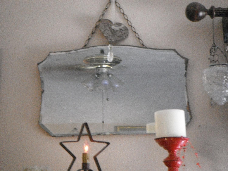 Vintage Frameless Beveled Mirror Vintage Mirrors Vintage Within Vintage Frameless Mirror (View 3 of 15)