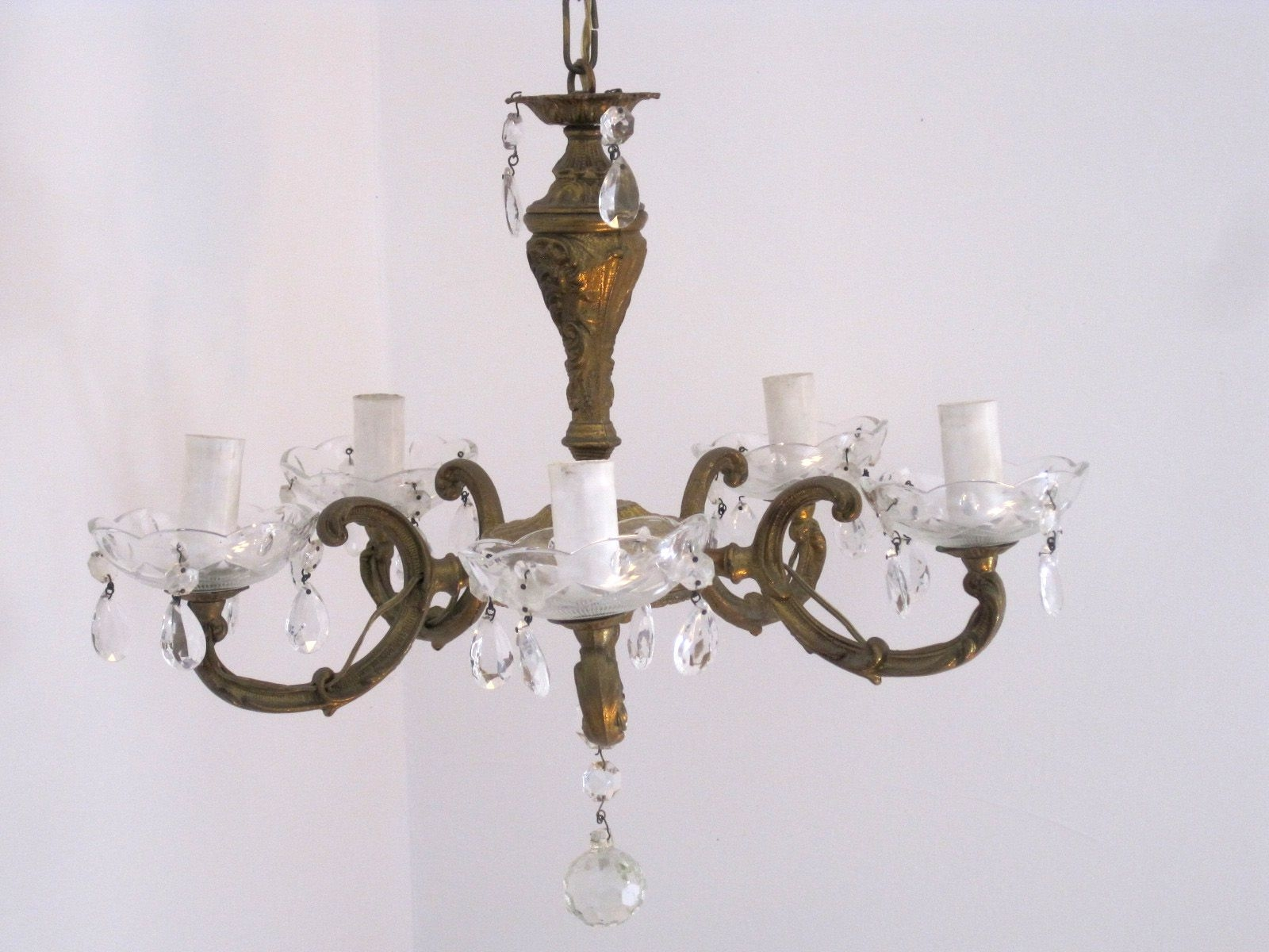 Vintage French Bronze Crystal Glass Ornate 5 Arm Chandelier Regarding French Bronze Chandelier (Image 15 of 15)