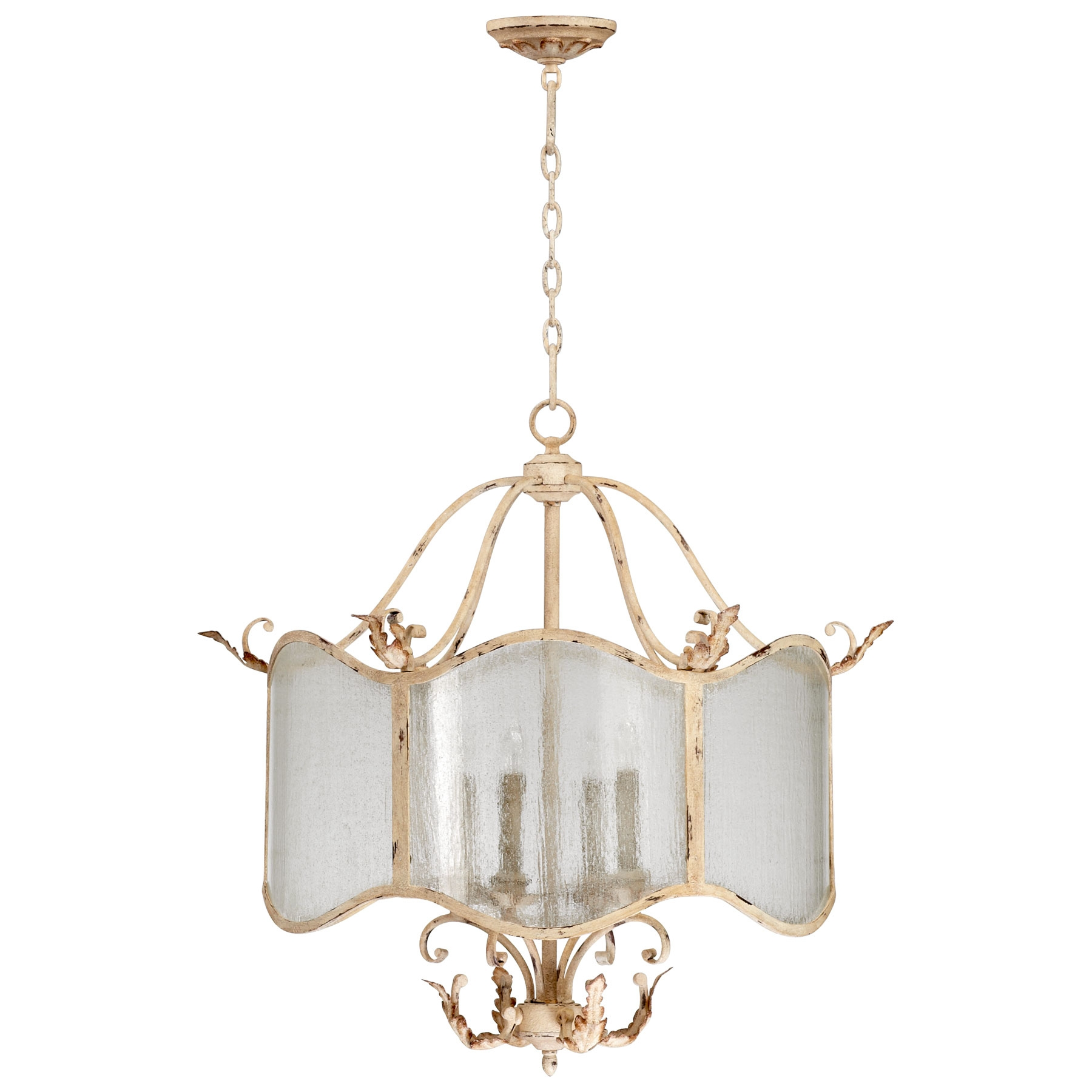 Vintage French Country Chandelier With Glass Lamp Shades And Iron With Regard To French Glass Chandelier (Image 15 of 15)