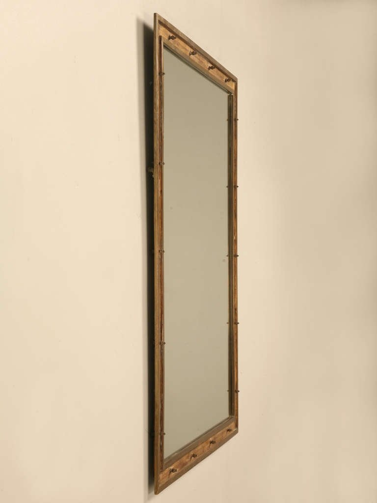 Vintage French Industrial Brass Mirror With Rivet Decoration At Throughout Vintage French Mirror (Image 13 of 15)