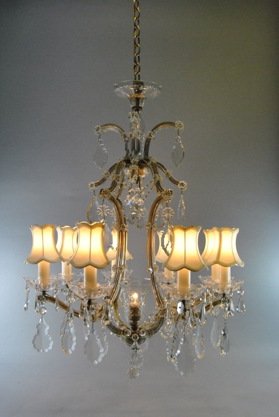 Vintage French Style 8 Arm Crystal Chandelier Lefflers Antiques Intended For Vintage Style Chandelier (Image 13 of 15)