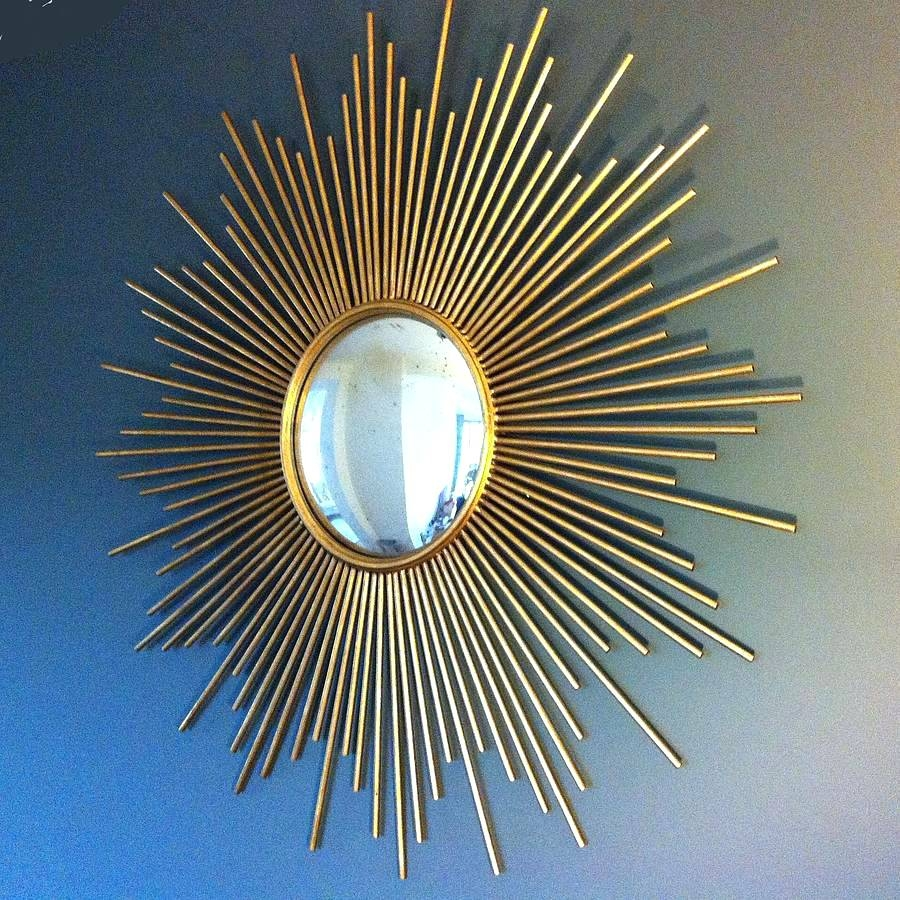 Vintage French Sunburst Mirrorvintage Gold Mirror Starburst Within Large Sunburst Mirrors For Sale (Image 15 of 15)
