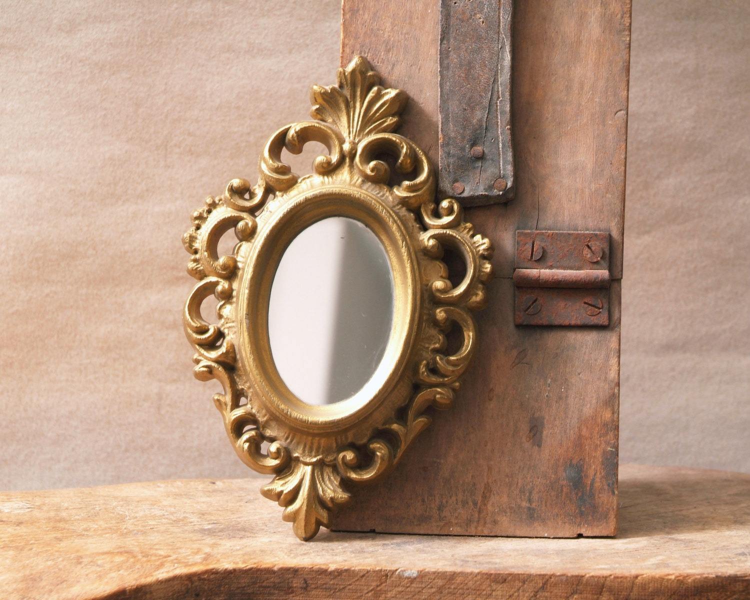 Vintage Gold Framed Mirror Small Oval Mirror Ornate Gold Regarding Small Ornate Mirror (Image 14 of 15)